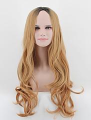 Kylie Jenner styl dlouhé trhané vlny vlasy paruka černý kořen blonde mix Ombre paruky