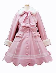 Abrigo Gosurori Princesa Cosplay Vestido  de Lolita Rosado Negro Moda Manga Larga Lolita Abrigo por