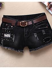 Damer Sexet Mikroelastisk Tynd Shorts Bukser,Alm. taljede Ensfarvet