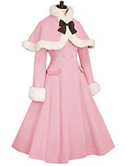 Abrigo Gosurori Princesa Cosplay Vestido  de Lolita Rosado Negro Blanco Café Moda Manga Larga Lolita Abrigo por