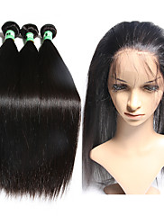 閉鎖が付いている毛横糸 ペルービアンヘア ストレート 12ヶ月 4個 ヘア織り
