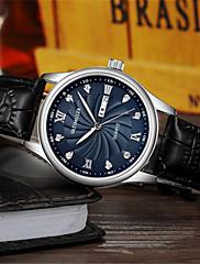 Homens Relógio Elegante Relógio de Moda Quartzo Calendário Impermeável Couro Banda Preta Marrom