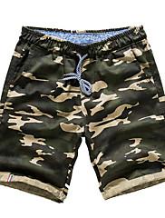 メンズ 活発的 ミッドライズ ストレート 伸縮性 活発的 ショーツ パンツ プリント