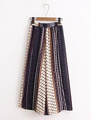 レディース ストリートファッション ミッドライズ ワイドレッグ マイクロエラスティック ワイドレッグ パンツ 幾何学模様