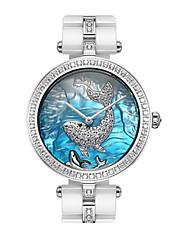 Mulheres Relógio de Moda Relógio de Pulso Quartzo Impermeável Lega Cerâmica Banda Branco