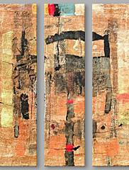 Hånd-malede Abstrakt Vertikal,Kunstnerisk Tre Paneler Kanvas Hang-Painted Oliemaleri For Hjem Dekoration