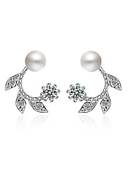 Dame Øreringe sæt Diamant Perle Lyserød Natur Statement-smykker Yndig Gotisk luksus smykker Perle Rhinsten Legering Geometrisk form