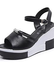 Damer Sko PU Sommer Komfort Sandaler Flad hæl Kigge Tå Bjergkrystal Til Afslappet Hvid Sort