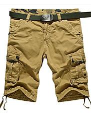 Masculino Simples Cintura Baixa Micro-Elástica Chinos Calças,Reto Sólido