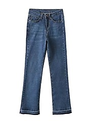 Feminino Moda de Rua Cintura Média Micro-Elástica Jeans Calças,Bootcut Sólido