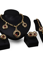 Dámské Náhrdelníky s přívěšky imitace drahokamu imitace Ruby Módní Přizpůsobeno Zirkon Štras Slitina Circle Shape Šperky Pro Párty Zásnuby