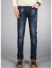 Masculino Simples Cintura Média Micro-Elástica Jeans Calças,Reto Sólido