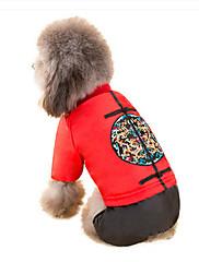 犬 コート 犬用ウェア 新年 刺繍 イエロー レッド