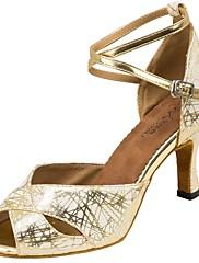 Damer Latin Syntetisk læder Sandaler Optræden Kryds & Tværs Stilethæle Guld Sort Sølv 7,9 - 9,5 cm Kan tilpasses