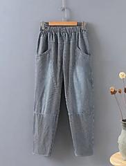 Feminino Moda de Rua Cintura Média Micro-Elástica Perna larga Calças,Harém Sólido Listrado