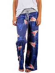 Feminino Vintage Boho Activo Cintura Média Elástico Perna larga Calças Esportivas Calças,Solto Perna larga Floral,Floral