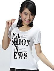 Feminino Camiseta Esportes Feriado Casual Simples Activo Primavera Verão,Letra Modal Elastano Decote Redondo Manga Curta Fina