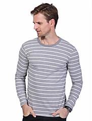 Masculino Camiseta Tamanhos Grandes Casual Simples Primavera Outono,Listrado Algodão Elastano Decote Redondo Manga Longa Média