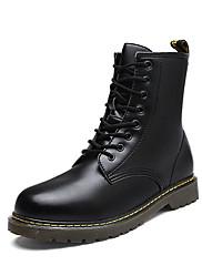 メンズ 靴 PUレザー 秋 冬 コンバットブーツ ブーツ ミドルブーツ 編み上げ 用途 カジュアル パーティー ブラック コーヒー レッド ブルー