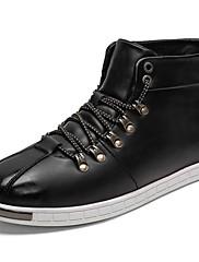 Masculino sapatos Couro Ecológico Primavera Outono Conforto Tênis Cadarço Para Casual Preto Vermelho