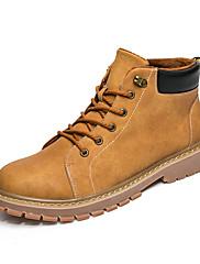 メンズ 靴 レザーレット 秋 冬 ファーライニング ブーツ ブーティー/アンクルブーツ 編み上げ 用途 カジュアル グレー イエロー カーキ色