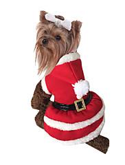 Hund Kostume Hundetøj Jul Solid Rød