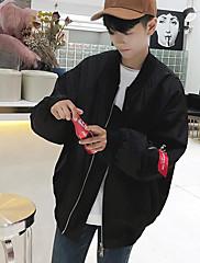 Masculino Jaqueta Casual Simples Outono,Estampado Letra Padrão Poliéster Colarinho Chinês Manga Longa