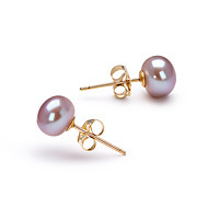 14k Gold Lavender 6.5-7mm AAA Freshwater Pearl Earring