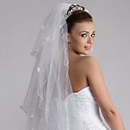 Wedding Veil Three-tier Fingertip Veils Cut Edge 47.24 in (120cm) Tulle White / IvoryA-line, Ball Gown, Princess, Sheath/ Column,