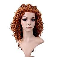 main attachée dans le style lace front de qualité à long synthétique de haute aspect naturel d'or perruque brune cheveux bouclés (0,479 à 6,30-ah-0001