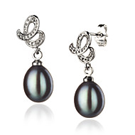 AA 8-9mm black freshwater Pearl Earring With Sterling Silver Clasp