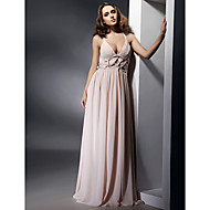 TS Couture Formal Evening Military Ball Dress - Open Back Celebrity Style Sheath / Column V-neck Straps Floor-length Chiffon withDraping