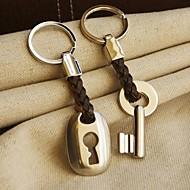 """""""Hampa roped i kärlek""""-knappen och lås nyckelring ligger i sammet presentpåse"""