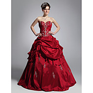 TS Couture® Prom / Formal Evening / Quinceanera / Sweet 16 Dress - Burgundy Plus Sizes / Petite Ball Gown Strapless / Sweetheart Floor-length Taffeta
