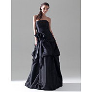 Lanting Floor-length Taffeta Bridesmaid Dress - Black Plus Sizes / Petite A-line / Princess Strapless