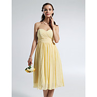 Knee-length Chiffon Bridesmaid Dress A-line Strapless / Sweetheart Plus Size / Petite with Draping / Side Draping / Ruching / Pleats