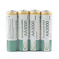 BTY 3000mAh AA Ni-MH Genopladeligt Batteri Sæt (4-pakke)