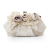 Women Bags Satin Evening Bag with Flower for Event/Party Purple Red Blushing Pink Camel Ivory