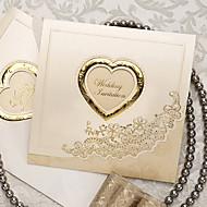 מדגם הזמנה קלסית מפוארת מקופלת חתונה עם מגזרת לב (סט אחד)