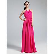 Floor-length Chiffon Bridesmaid Dress-Plus Size / Petite Sheath/Column Jewel