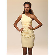 TS Couture® Cocktail Party Dress - Short Plus Size / Petite Sheath / Column One Shoulder Short / Mini Stretch Satin with Side Draping / Ruching