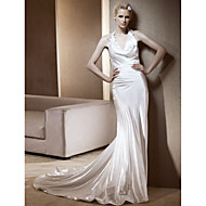 Lanting Sheath/Column Halter Chapel Train Elastic Woven Satin Wedding Dress