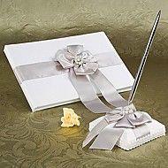 Guest Book / Pen Set Satin Garden ThemeWithFaux Pearl
