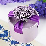 caja redonda a favor púrpura con flores y la cinta (juego de 12)
