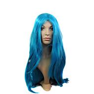 capless høy kvalitet syntetisk lang blå drakt parti parykk