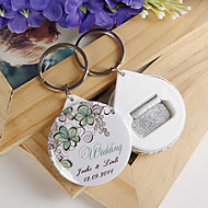 Personalized Bottle Opener / Key Ring - Green Flower (set of 12)