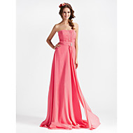 Lanting Sheath/ Column Strapless Floor-length Train Chiffon Bridesmaid Dress (204209)