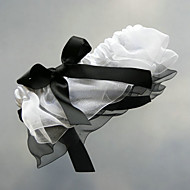 Elegant White Organza And Black Ribbon Wedding Garter