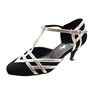 Non Customizable Women's Dance Shoes Modern/Ballroom Leatherette/Velvet Stiletto Heel Black