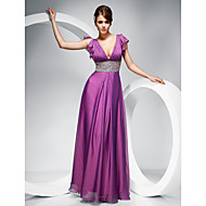 Sheath/ Column V-neck Floor-length Chiffon Evening/Prom Dress